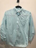 Peter Millar Blue Striped Button Front Shirt Men's Medium 100% Cotton