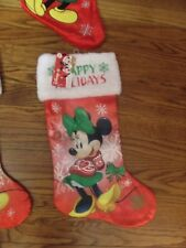 """Disney Minnie Mouse Happy Holiday 20"""" Red- White & Green Stocking Nwt"""