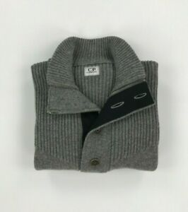 Men's Light Grey CP Company 1/2 Button Jumper Size 52 Large L 1/2 Zip Wool A*