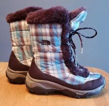 Youth Girls The North Face plaid waterproof down faux fur winter snow boots sz 3