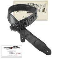 Walker & Williams G-105 Black on Black Padded Guitar Strap Glove Leather Back