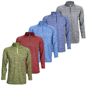 3 Pack Men's Dri Fit Active Performance 1/4 Zip Long Sleeve Pull Over Assorted