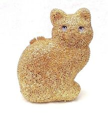 Full Gold ~Cat Shaped~Handmade Austrian Crystal Evening Cocktail Bag