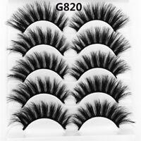 SKONHED 5 Pairs 3D Mink Hair False Eyelashes Wispy Cross Long Lashes Natural US