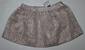 baby Gap NWT Girl's 0 3 18 24 Mo. Ivory & Metallic Foil Print Skirt Voile Lining