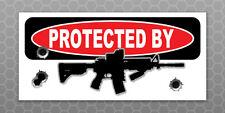 PROTECTED BY AR-15 Rifle Vinyl Sticker - Home Defense - Car Truck Bumper Sticker
