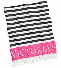 "Victoria's Secret Black and Pink Beach Blanket 2016 50""x 60"" Large - New!"