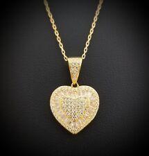 14k Yellow Gold Baguette & Round Diamond Heart Pendant Necklace