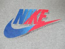 NIKE - NAME AND SWOOSH RED AND BLUE - XL GRAY T-SHIRT - R1342