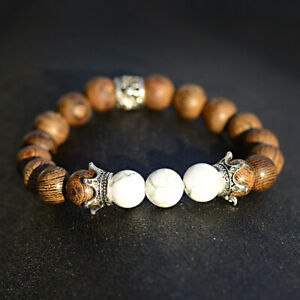 Fashion 10MM Wooden Round Beads Stone Beaded Reiki Charm Men Women Bracelets
