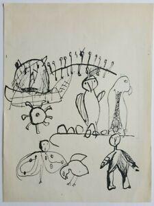 Original Engraving Slavko Kopač (1913-1995) Animals Birds Art Raw Art Naïve