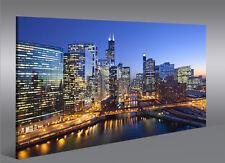 Bild auf Leinwand Chicago V3 Skyline Downtown 1K Leinwandbild Wandbild Poster