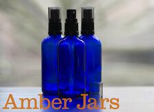 3 x 100ml Glass Amber BLUE Bottles / Spray Bottle - Aromatherapy Spritzer