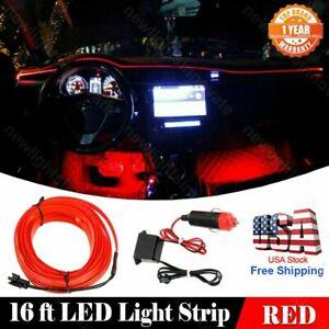 DC12V 16 Feet Car Interior Atmosphere Neon Light Strip RED Cold Light Fit Toyota