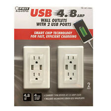 Feit Electric Usb Wall Outlet 2 Pack 120V 2 Usb Outlets 4.8amp No More Adapters