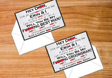 SET OF 4 Hey D*ck Vulgar Cursing Cards Groomsman Gift Be My Best Man Wedding