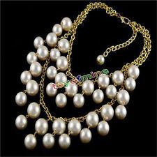 Charm Fashion Pendant choker Pearl Statement Necklace multi strands punk chain