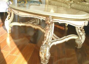 ROYALTY VINTAGE HAND CARVED CHERUBS ITALIAN OVAL COFFEE TABLE ONYX TOP