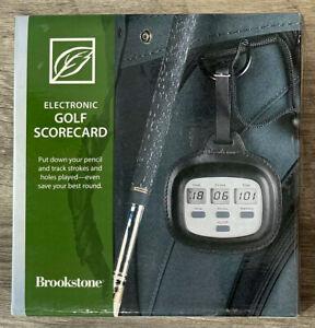ELECTRONIC GOLF SCORECARD Brookstone Leather Case 2004 NEW Water Resistant