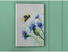 Canvas print of my original Bee and Cornflower watercolour ART painting
