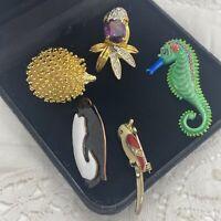 VINTAGE Animals & Birds Brooch Lot of 5 Collar Pin Retro Pretty Cute Creatures
