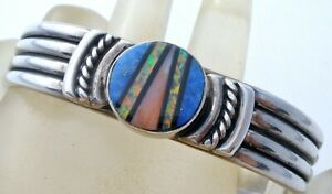 Sterling Silver Cuff Bracelet with Inlay Opal Lapis & Spiny Oyster Vintage P