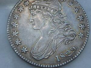 1829 Capped Bust Half Dollar-XF/AU Details, Toning