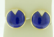 14K Yellow Gold Diamond Earrings - Round Natural Blue Lapis Lazuli Stud Earrings