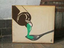 1970 QUADRO OPERA ORIGINALE POP ART SU STOFFA CORNICE LEGNO 81X72CM