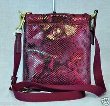 Coach Bag F50116 Signature Stripe Embossed Exotic Swingpack Raspberry Agsb COD