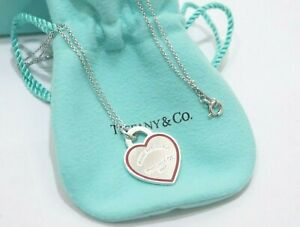 Tiffany & Co. Sterling Silver Return To Tiffany Red Heart Tag Charm Necklace 16""