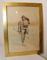antique 19th century original figural man traveler hobo hiker watercolor art