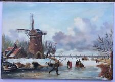 Artist Pellikaan Winter Scene Oil On Canvas