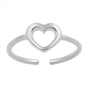 Heart Toe Ring Sterling Silver 925 Assorted Finish Color Face Size 6 mm Jewelry