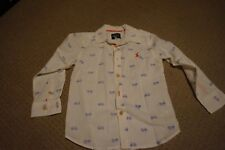 JOULES BOYS WHITE SHIRT BLUE BICYCLE PRINT AGE 4 CHRISTMAS NEW YEAR PARTY