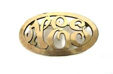 Initial NEG Three Letters Costume Fashion Oval Gold Plated Brooch Pin Vintage