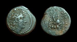 AE18 Seleukid kingdom Tryphon (Macedonian helmet)