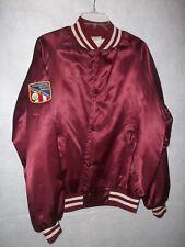 Vintage Senior Olympics  Weight training Satin Bomber Snap Burgundy Jacket Sz L