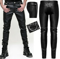 Pantalon cuir slim gothique punk dandy fashion zips anneau métal PunkRave Homme