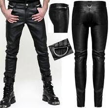 Pantalon slim cuir gothique punk rock zips anneau métal stylé PunkRave Homme