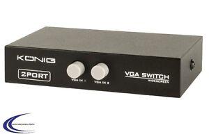VGA Umschalter 2-fach  in schwarz  - Bildschirm Switch Umschalter