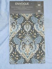 Nwt Envogue Faux Roman Shaded Lined Valance Blue Jacobean