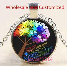 Autism Spectrum Tree Cabochon Tibetan silver Glass Chain Pendant Necklace #3487