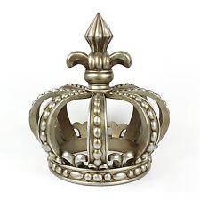 Antique Silver Crown Sculpture Resin Table Statue Decor