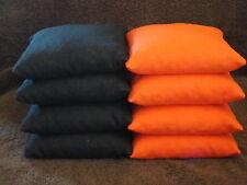 Set of 8 Harley Davidson BLACK & ORANGE Cornhole Corn Hole Bags FREE SHIPPING!