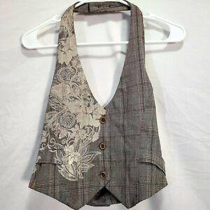 Vintage Y2K Fang Plaid Vest Large 10/12 Black Brown Floral Formal Casual Women L