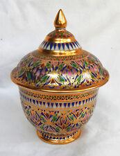 Hand Painted Oriental / Middle Eastern Gilded Lidded Porcelain Pot - Stunner