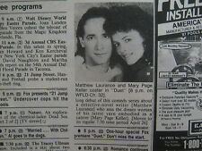 April, 1987 Chicago Tribune TV Week(MATTHEW LAURANCE/MARY PAGE/PREMIERE OF DUET)