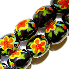 MAGNETIC HEMATITE PAINTED BEADS ORANGE AND YELLOW FLOWER BEAD STRANDS CP4