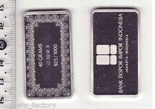 Lingot d argent Collection Des banques du monde ( 40 grammes - indonesie )
